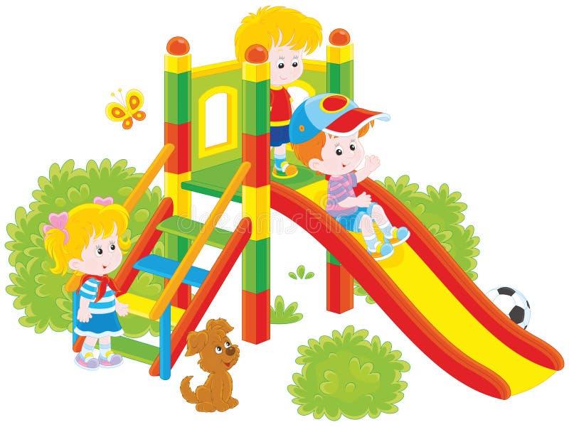 Children's slide in a park. Vector illustration of little children playing on a slide at a playground, on a white background vector illustration