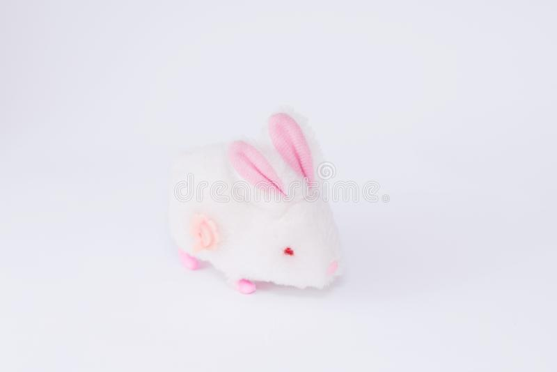 Children`s soft toy bunny  on white background royalty free stock photos