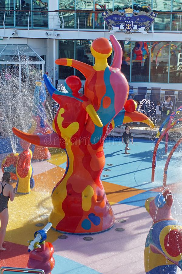 Children`s splash pad on a cruise ship stock images