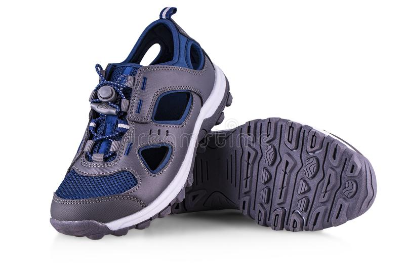 The children`s sports shoes on white. Background stock images