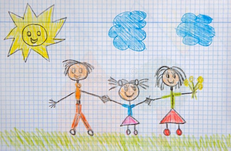 ChildrenÂs teckning royaltyfri illustrationer