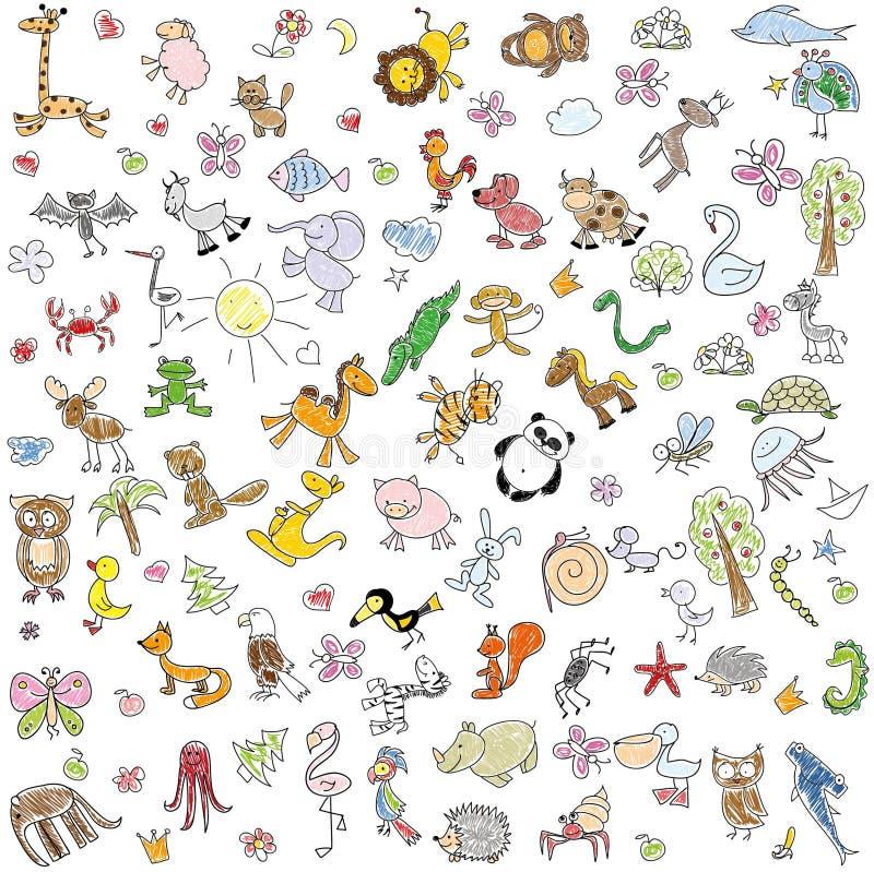 Children' s tekeningen van krabbeldieren, vector vector illustratie