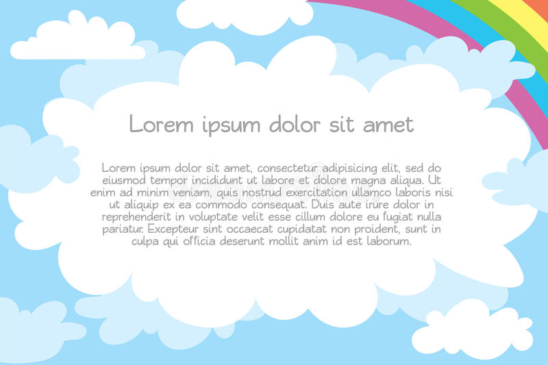 Children`s template for advertising brochure. Ready for your message. Lorem ipsum. Vector illustration. on white background stock illustration