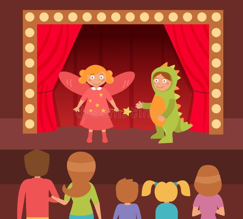 Children`s theatrical performance. stock illustration
