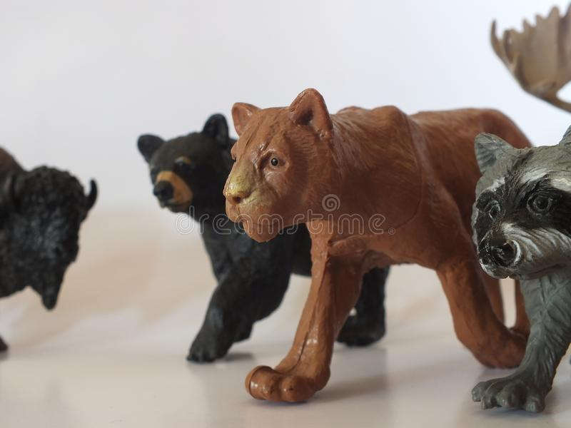 Children`s toy animals at home stock photo