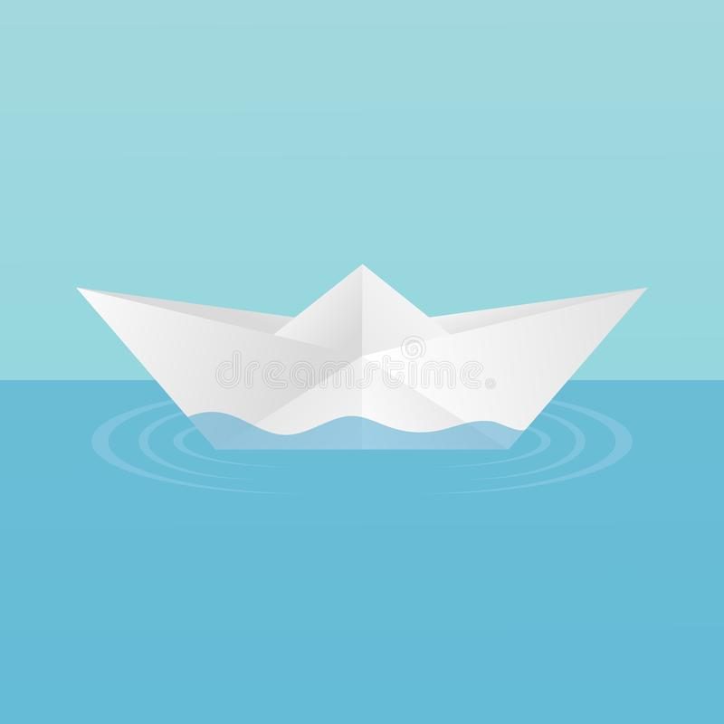 A children`s toy boat made of paper afloat, leaving circles of ripples on the water. On a blue background. stock illustration