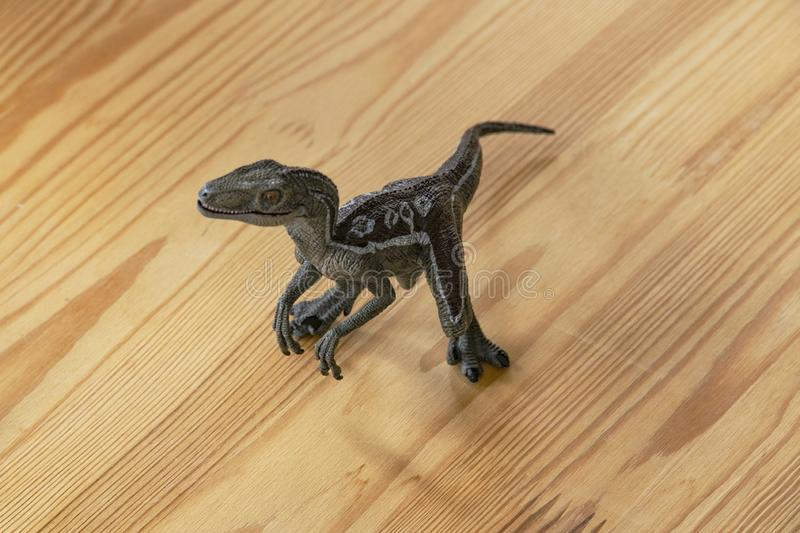 Children`s toy predator dinosaur. Children`s toy ancient predator dinosaur on a wooden table in a room flooded with sunlight. Toy tyrannosaur from plastic stock photos