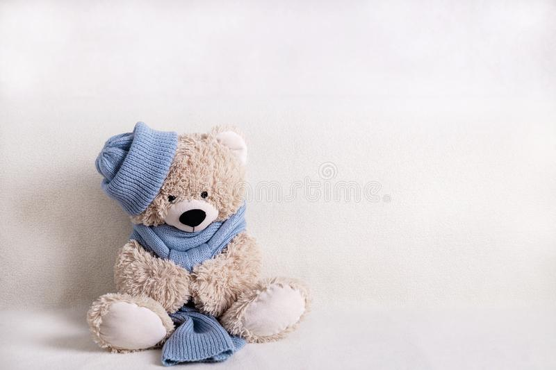 Knitted stuffed teddy bear doll dressed in blue wooly hat and ... | 533x800