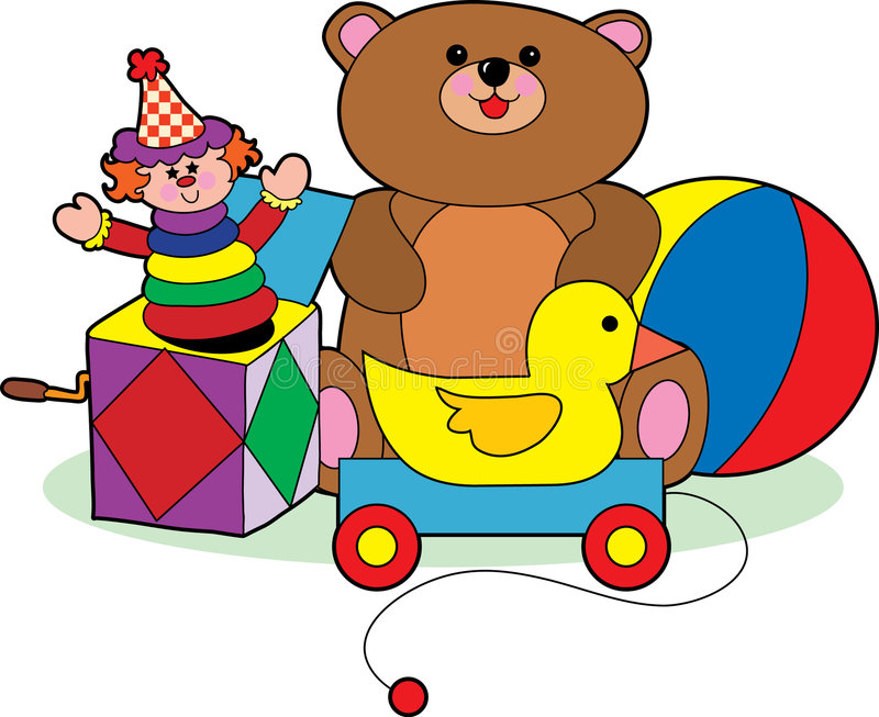 Children's Toys. A group of childrens toys icluding a teddy bear and jack in the box stock illustration
