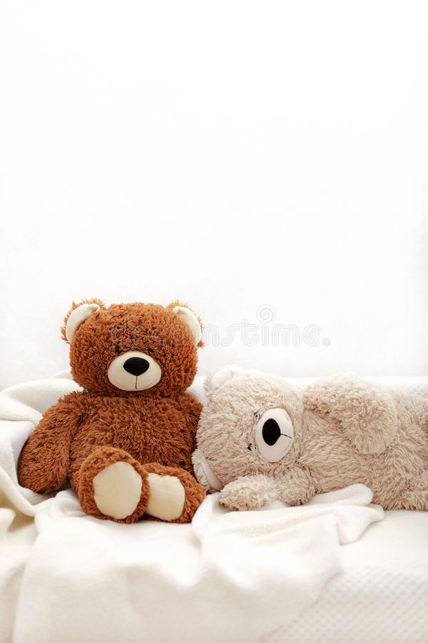 Children`s toys - bears of brown and beige color are sitting on the sofa. Selective focus stock photography