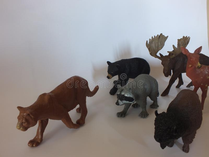 Children`s toy animals at home royalty free stock photography