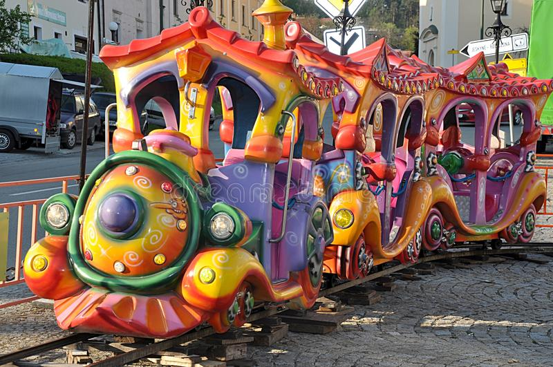 Children's Trains in the city stock photo