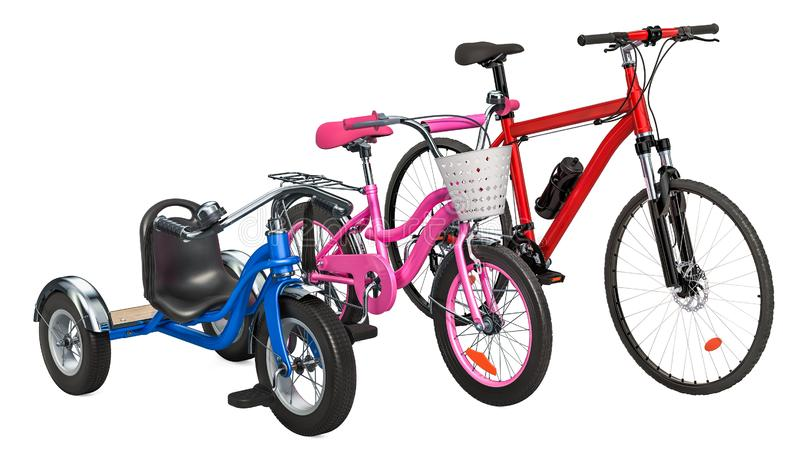Children`s tricycle, bicycle and adult bike. 3D rendering stock illustration