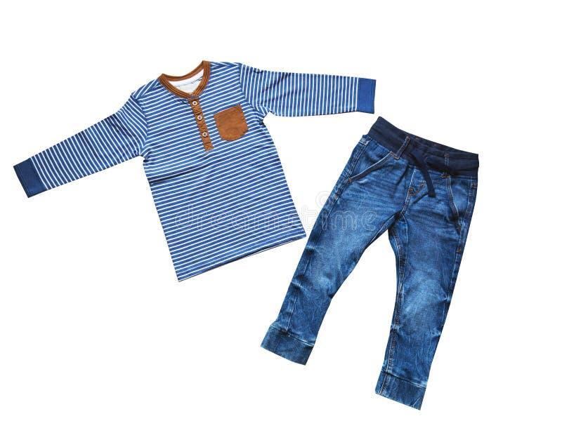 Children& x27 ; s vêtx, l'équipement réglé de garçon, concept de mode d'enfant photographie stock libre de droits