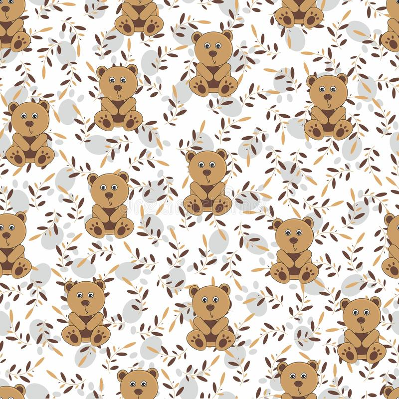 Children`s wallpaper in a bowl with leaves. Seamless background for children. Teddy bear, leaves and paws royalty free stock images
