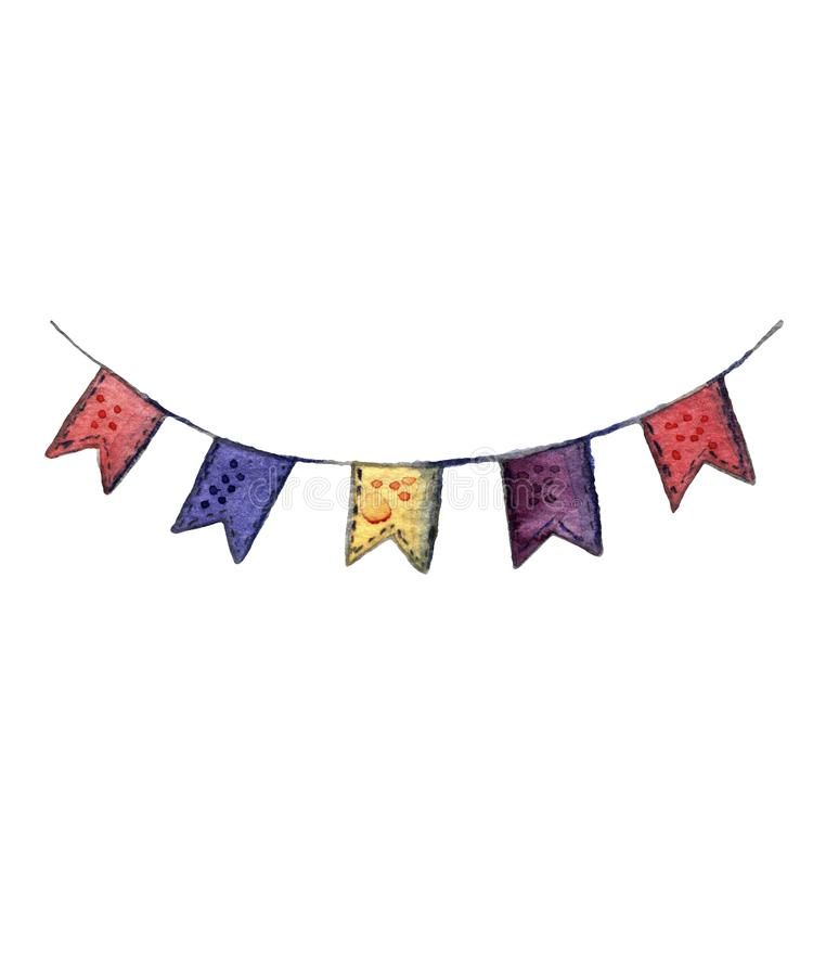 Children`s watercolor set.. Multi-colored bright holiday flags on a ribbon stock illustration