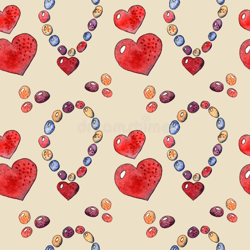 Children`s watercolor set seamless pattern with hearts. On a beige background stock illustration