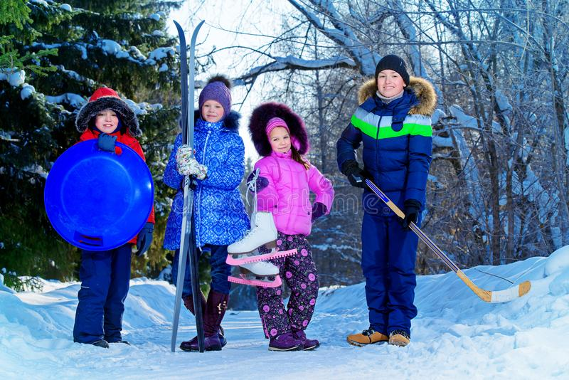 Children`s winter active games royalty free stock images