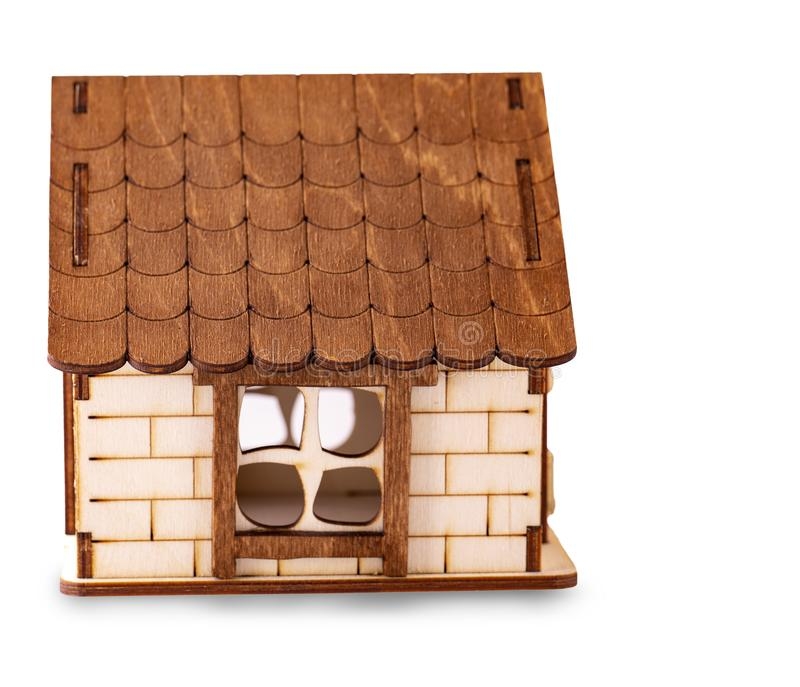 The children`s wooden house  on white background. Children`s wooden house  on white background royalty free stock photos