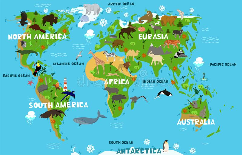 Children s world map with the names of continents and oceans. Animals on the mainland. Vector graphics. Children s world map with the names of continents and stock photo