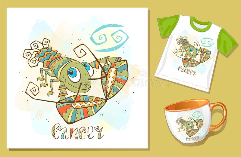 Children`s Zodiac. Cancer sign . Application examples on t-shirt and mug. Vector vector illustration