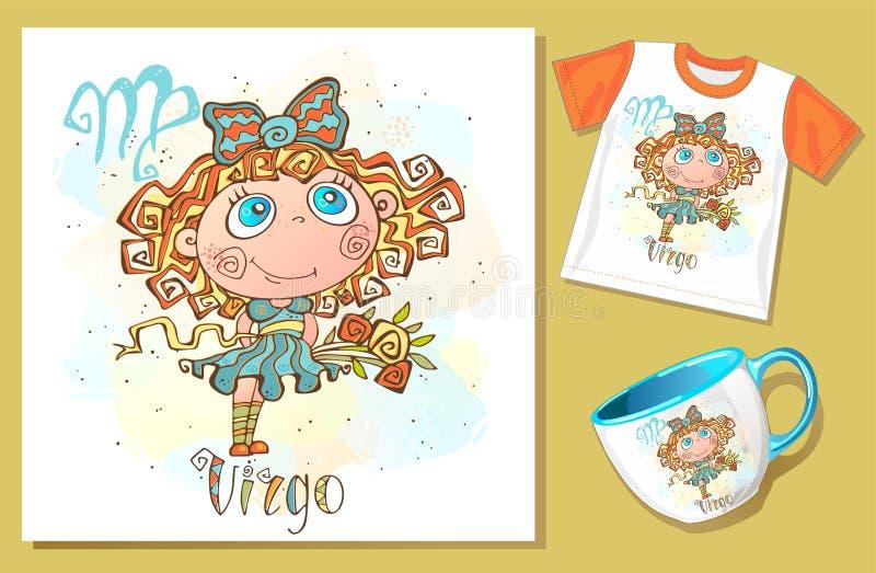 Children`s zodiac. Deva. Application examples on t-shirt and mug. Vector vector illustration