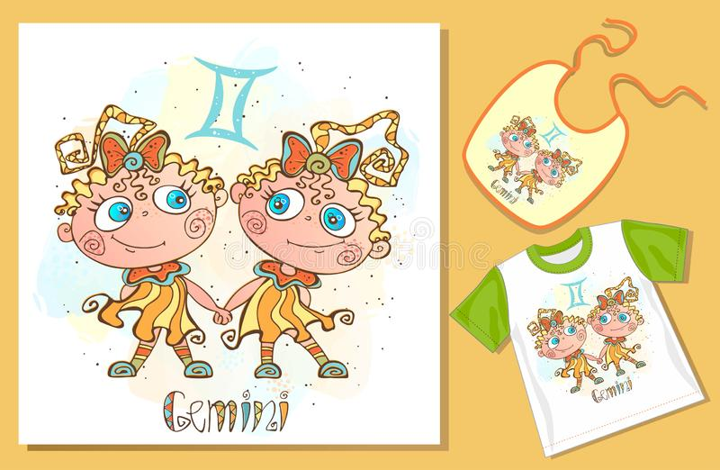 Children`s Zodiac. Gemini sign . Examples of application on t-shirt and bib. Vector royalty free illustration