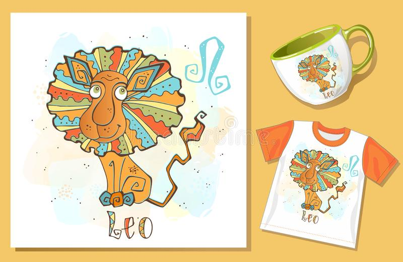 Children`s Zodiac. Lion sign. Application examples on t-shirt and mug. Vector royalty free illustration