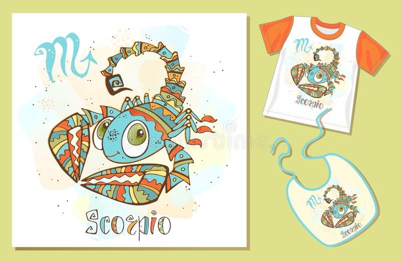 Children`s zodiac. Scorpio sign . Examples of application on t-shirt and bib. Vector stock illustration
