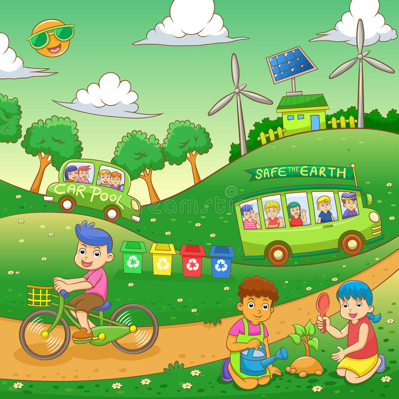 Children save our green world. EPS10 File simple Gradients stock illustration