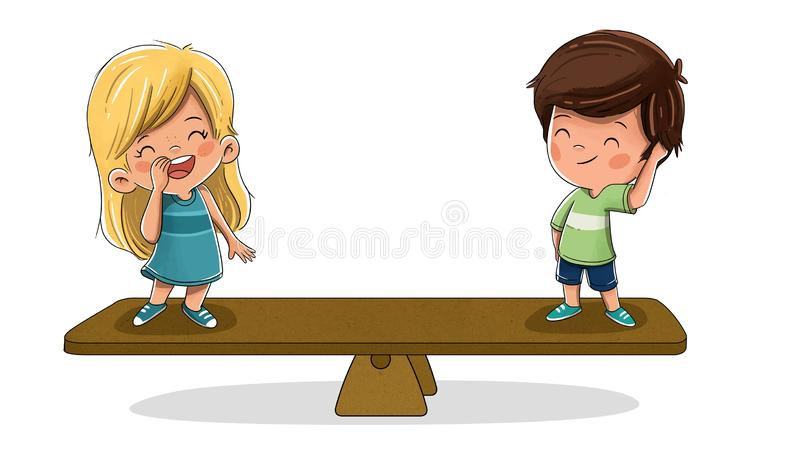Children on a scale. Concept of equality royalty free illustration