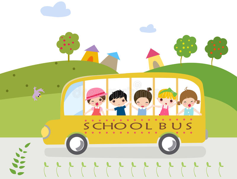 Download Children and school bus stock vector. Image of illustrations - 11461263