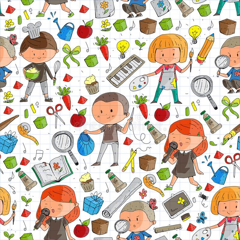 Children. School and kindergarten. Creativity and education. Music. Exploration. Science. Imagination. Play and study vector illustration