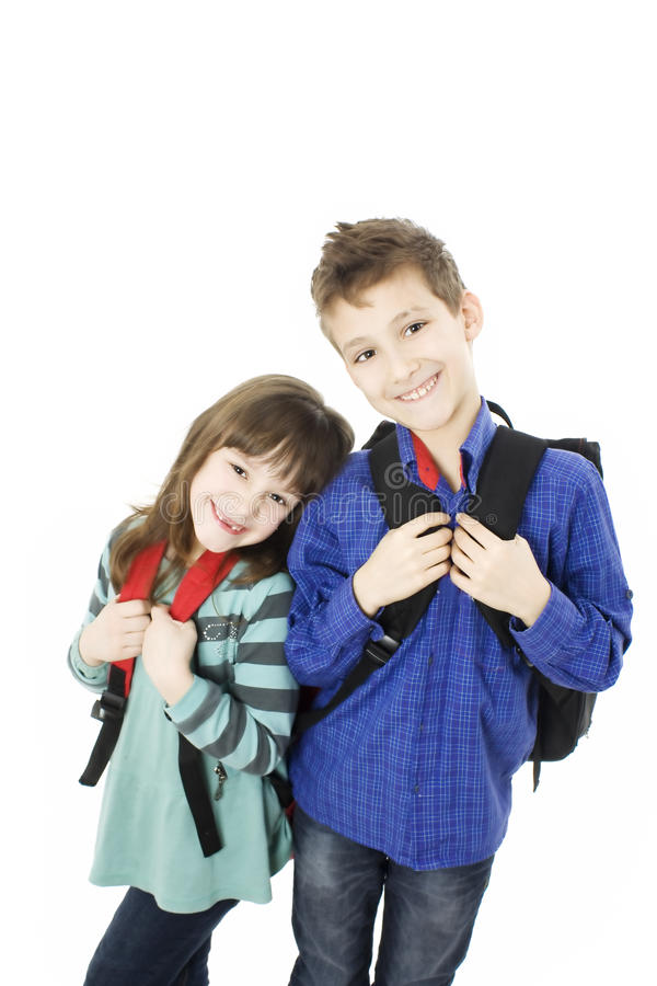 Children, schoolboy and schoolgirl. royalty free stock image