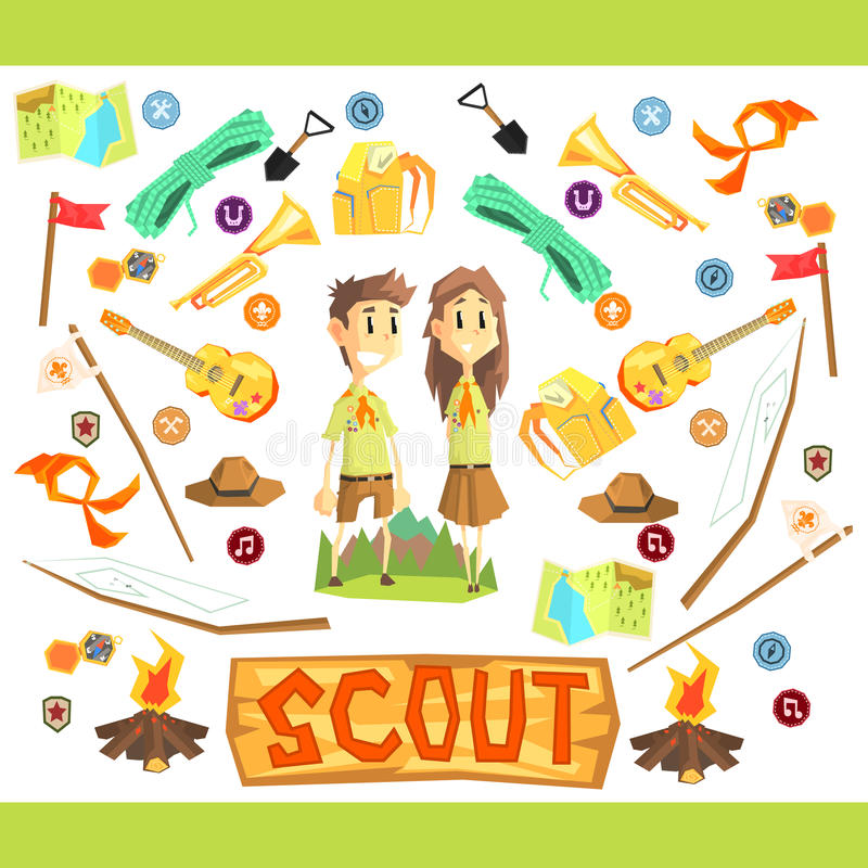 Children Scouts Illustration royalty free illustration