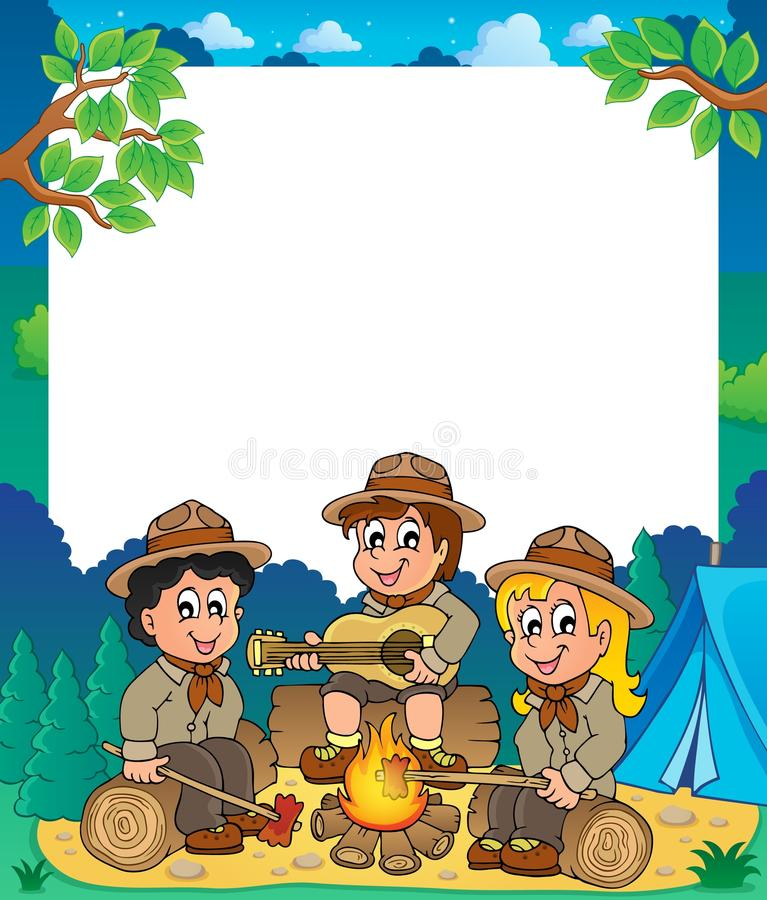 Free Children Scouts Thematic Frame 1 Royalty Free Stock Photography - 39652477