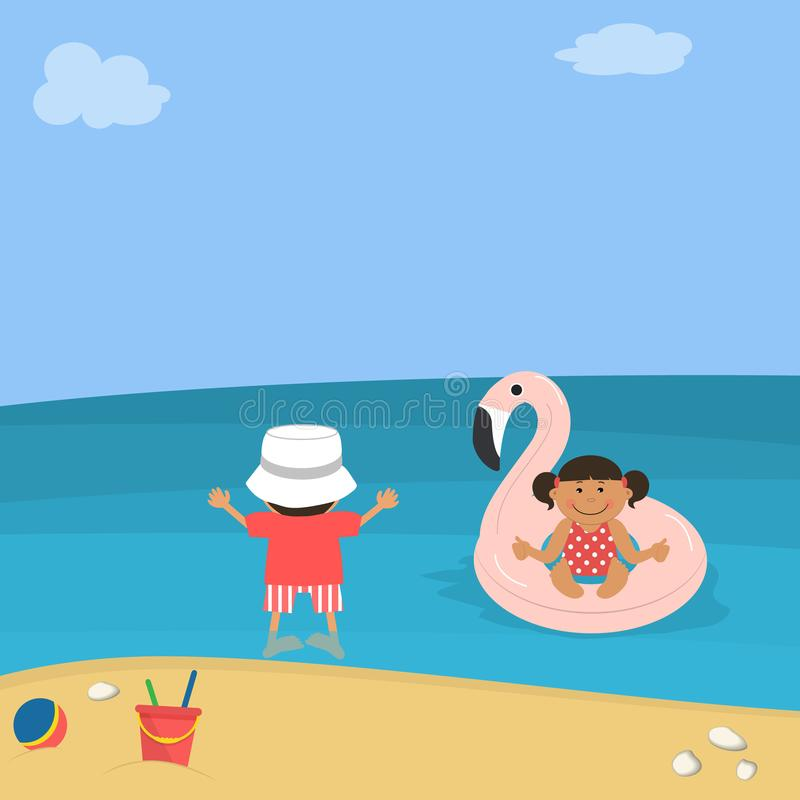 Children at sea. Little girl floats in the sea on an inflatable circle in the form of a flamingo, the boy is standing on the shore stock illustration