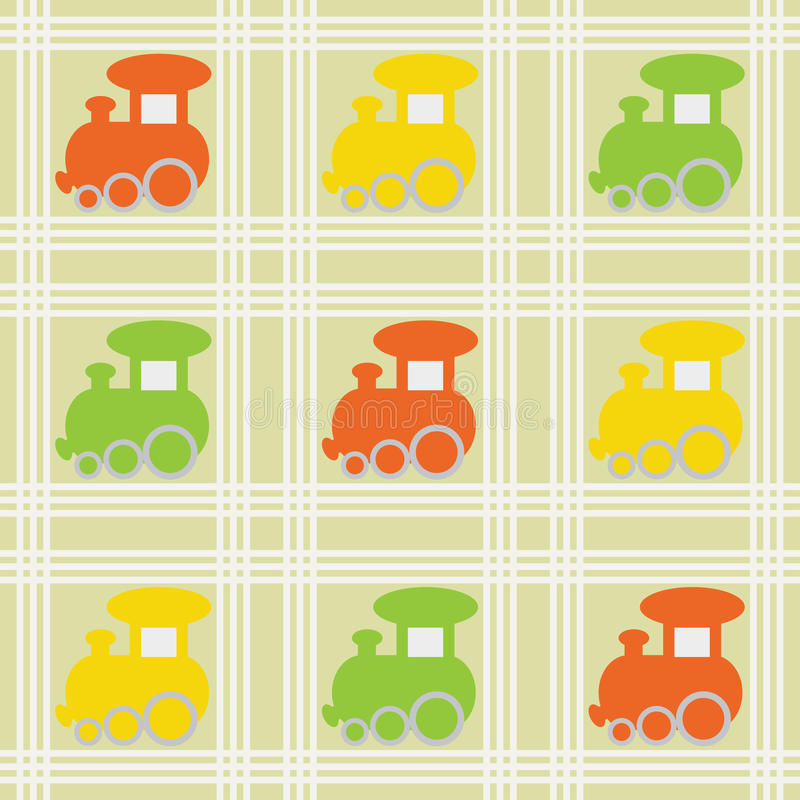 Children seamless background with trains royalty free illustration