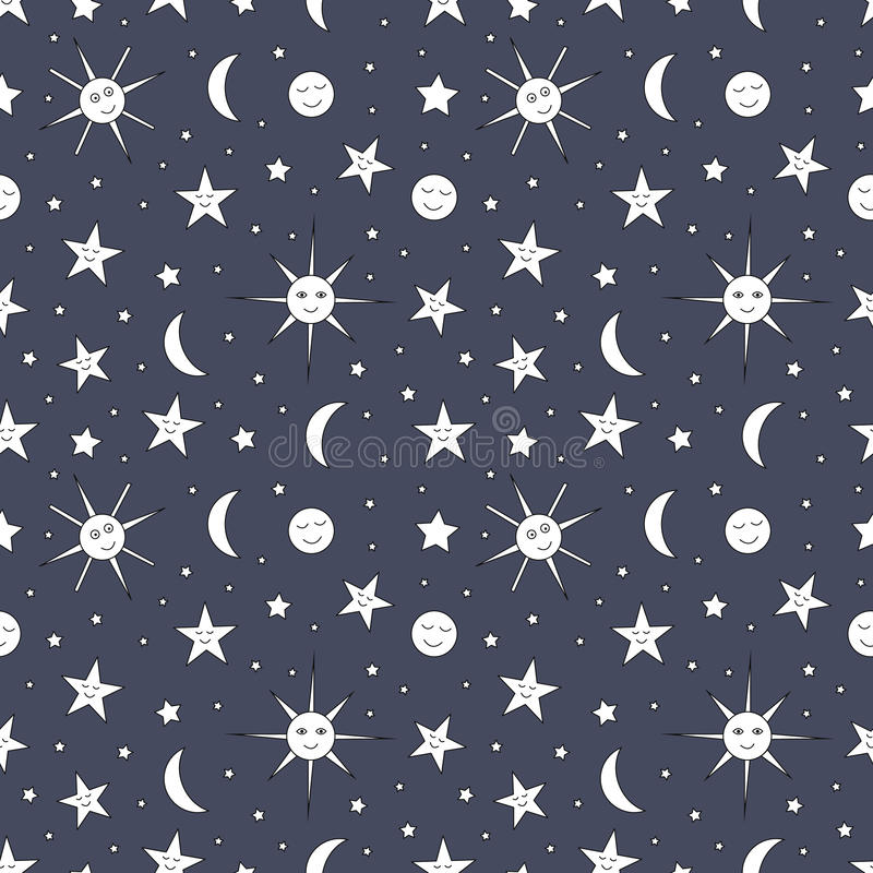 Free Children Seamless Pattern Of Night Sky With Sun, Moon And Stars Royalty Free Stock Photography - 88262157