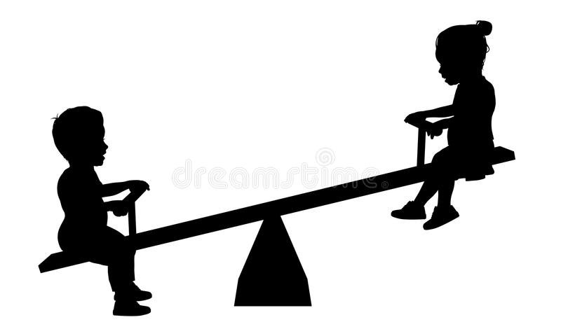 Children on Seesaw royalty free stock photography