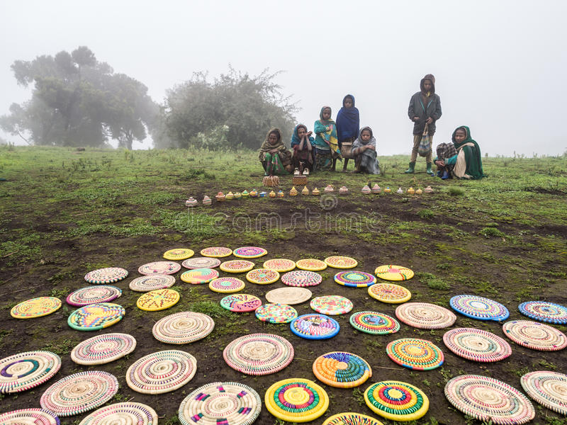 Children in Semien Mountains, Ethiopia, on a foggy day. stock photography