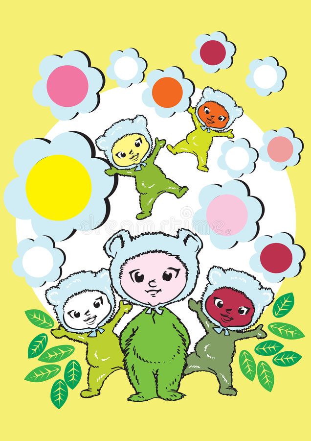 Download Diversity, Baby Children And Flowers- Cartoon Stock Vector - Illustration: 5061555