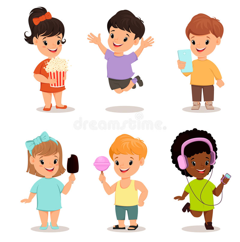 Children set. Cute kids playing, running and jumping royalty free illustration