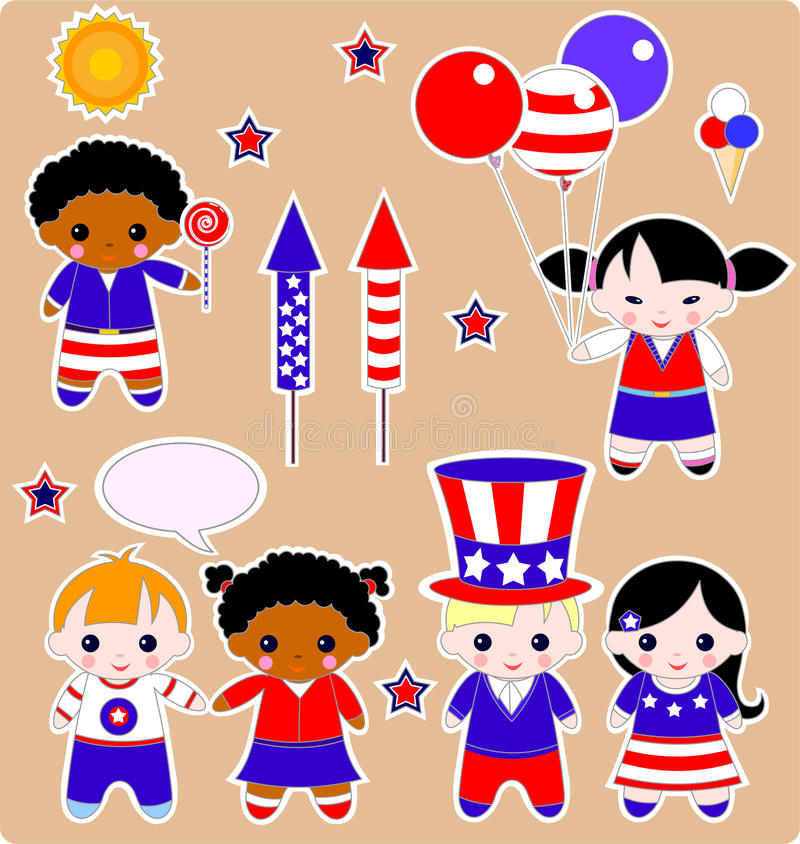 Children set Fourth of July. Fourth of July. Set of children. All images are separated royalty free illustration