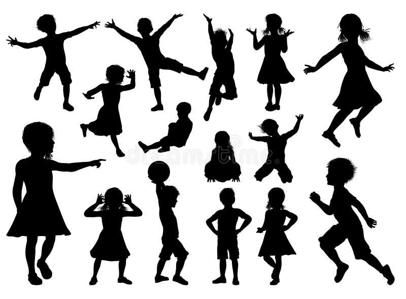 Children Silhouette Set stock illustration