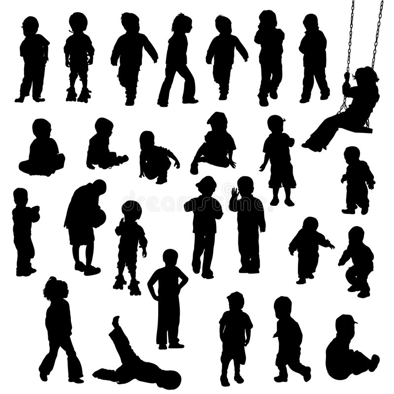 Children silhouettes stock vector. Illustration of playing ...