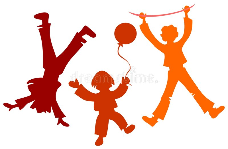 Children silhouettes stock illustration