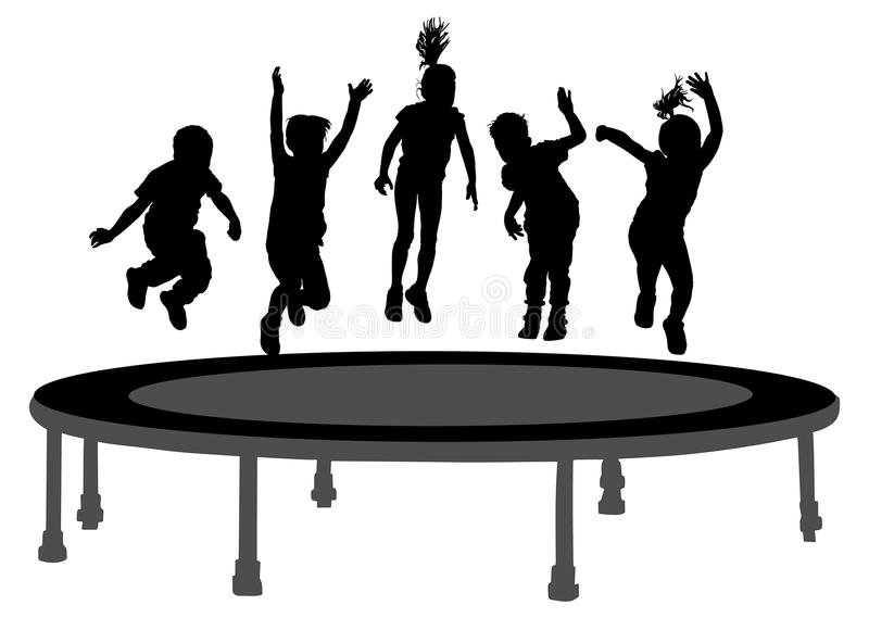 Children silhouettes jumping on garden trampoline . stock illustration