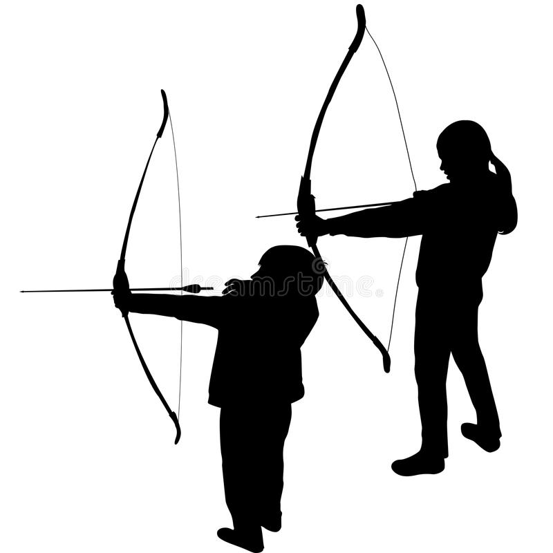 Children silhouettes playing archery royalty free illustration