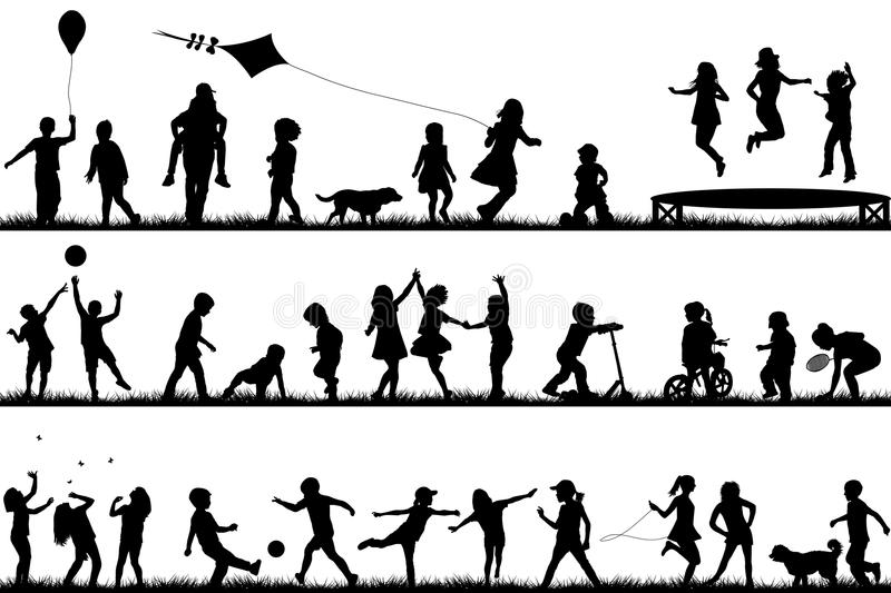 Children silhouettes playing outdoor vector illustration